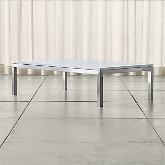 Parsons Large Rectangular Stainless Steel Coffee Table with White Marble Top