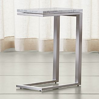 Parsons White Marble Top/ Stainless Steel Base 20x12 C Table