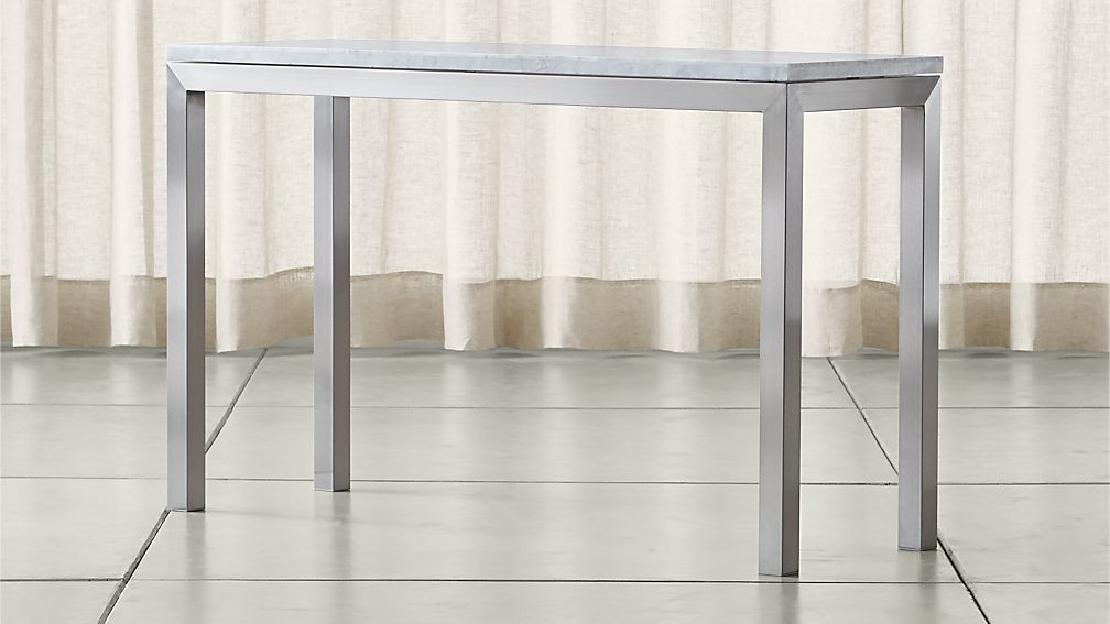 Parsons White Marble Top Stainless Steel Base 48x16
