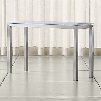 Parsons Stainless Steel Console Table with White Marble Top