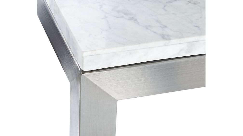 Parsons White Marble Top/ Stainless Steel Base 60x36 Large Rectangular Coffee Table