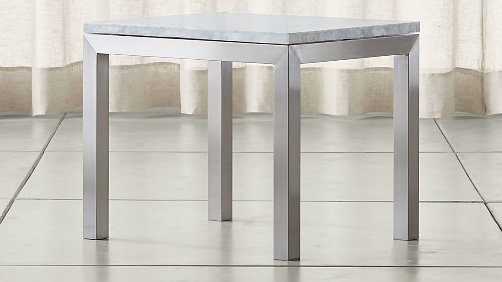 Parsons White Marble Top/ Stainless Steel Base 20x24 End Table - Image 1 of 4