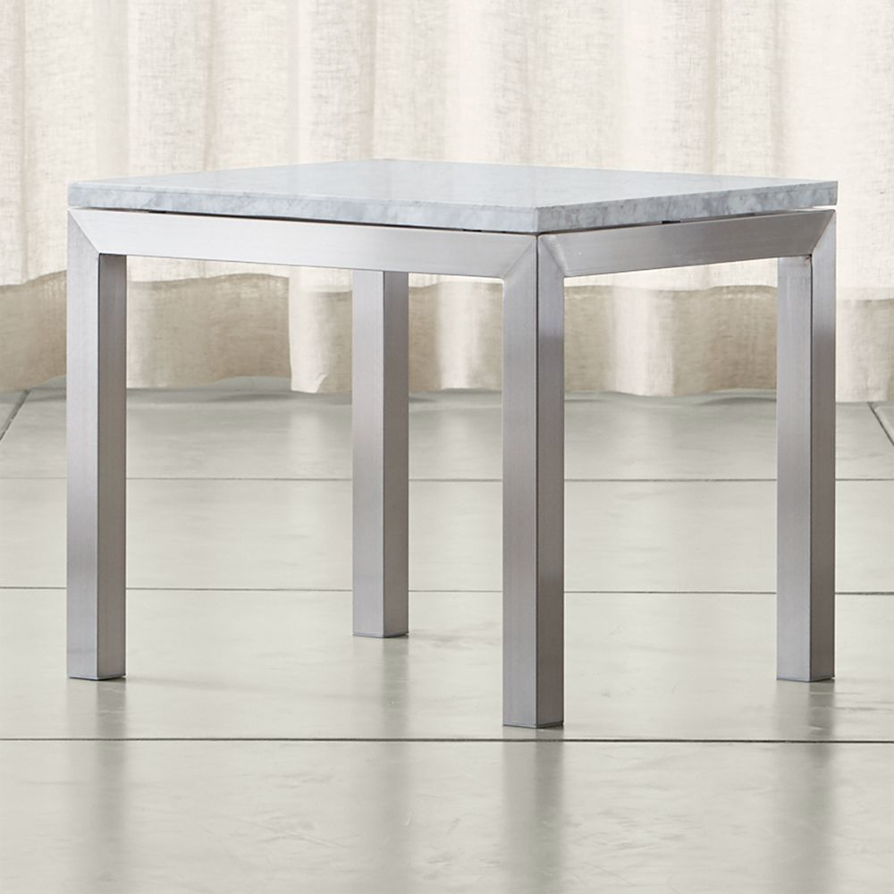 Online Designer Living Room Parsons White Marble Top/ Stainless Steel Base 20x24 End Table