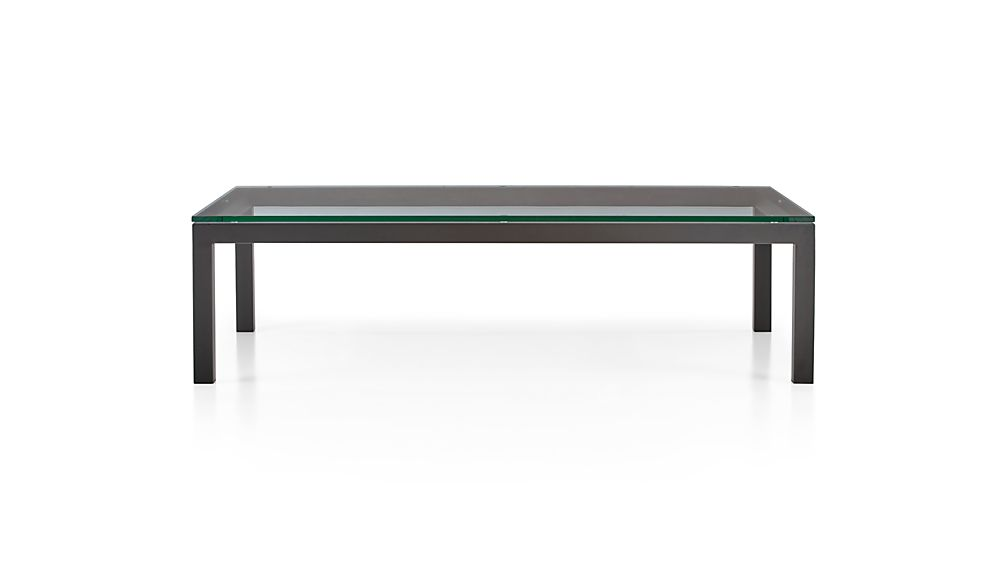Parsons Clear Glass Top/ Dark Steel Base 60x36 Large Rectangular Coffee Table