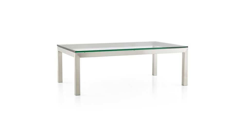Parsons Clear Glass Top/ Stainless Steel Base 48x28 Small Rectangular Coffee Table