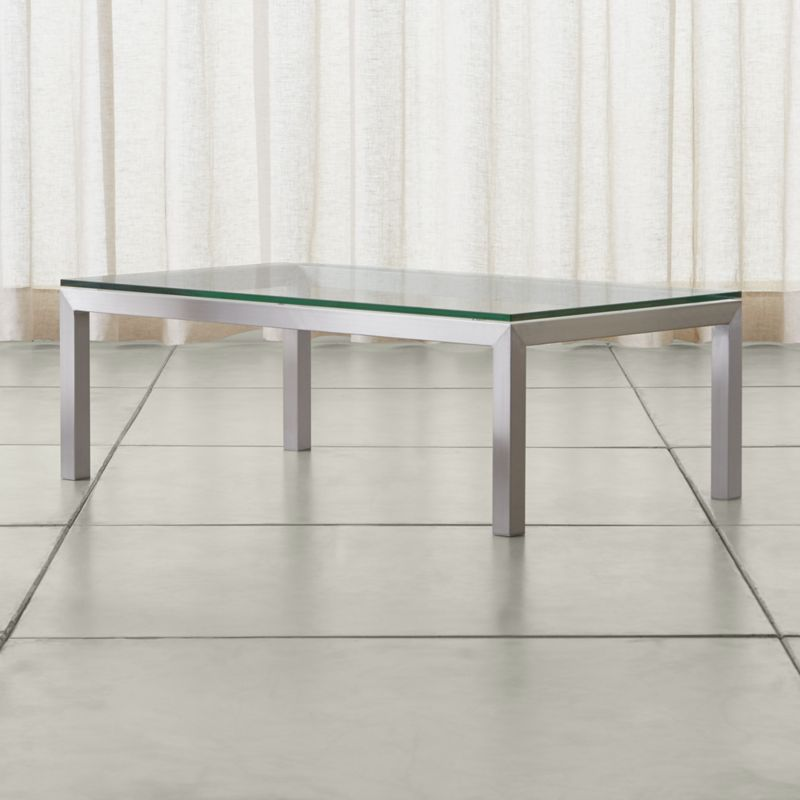 Parsons Clear Glass Top Stainless Steel Base 48x28 Small