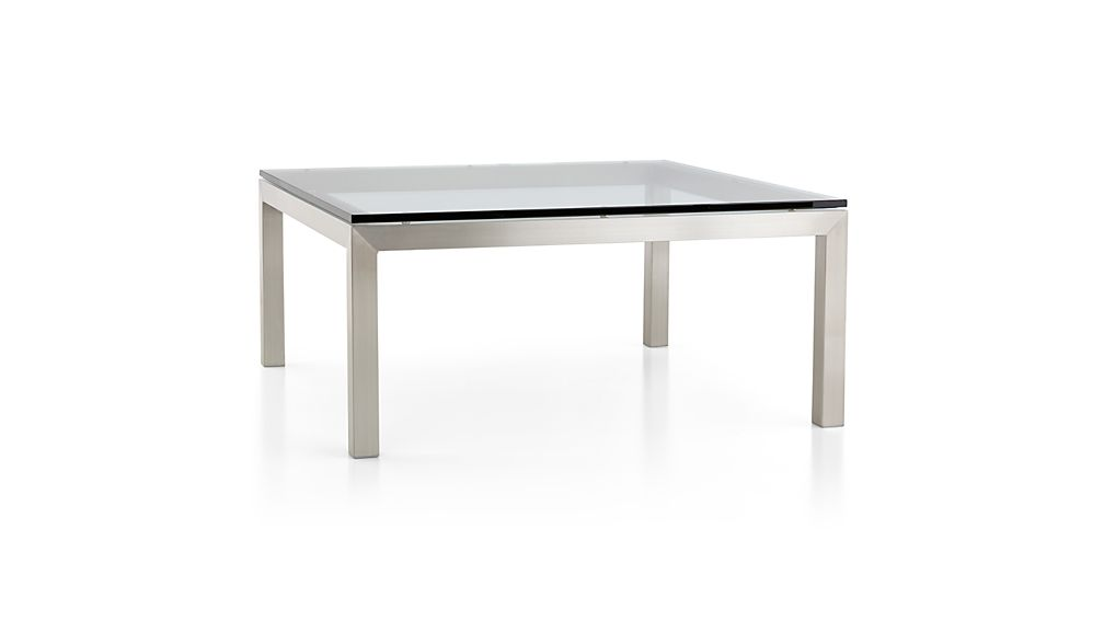 Parsons Clear Glass Top/ Stainless Steel Base 36x36 Square Coffee Table