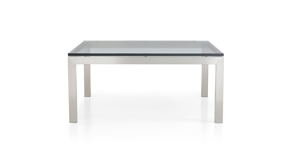 Parsons clear glass top stainless steel base 36x36 square for 36x36 coffee table