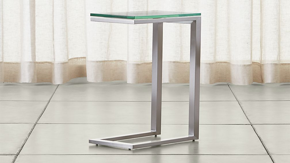 Parsons Clear Glass Top/ Stainless Steel Base 20x12 C Table