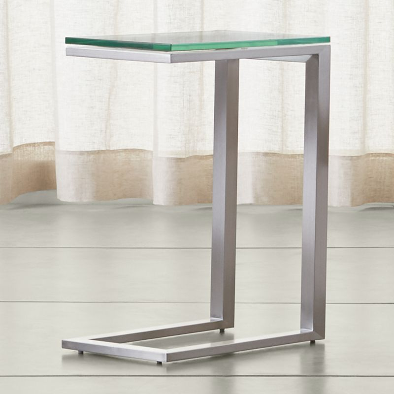 Charming Parsons Clear Glass Top/ Stainless Steel Base 20x12 C Table | Crate And  Barrel