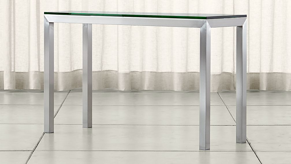 Parsons Clear Glass Top Stainless Steel Base 48x16 Console