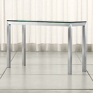Parsons Stainless Steel Console Table with Clear Glass Top