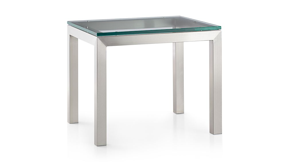 Parsons Clear Glass Top/ Stainless Steel Base 20x24 End Table