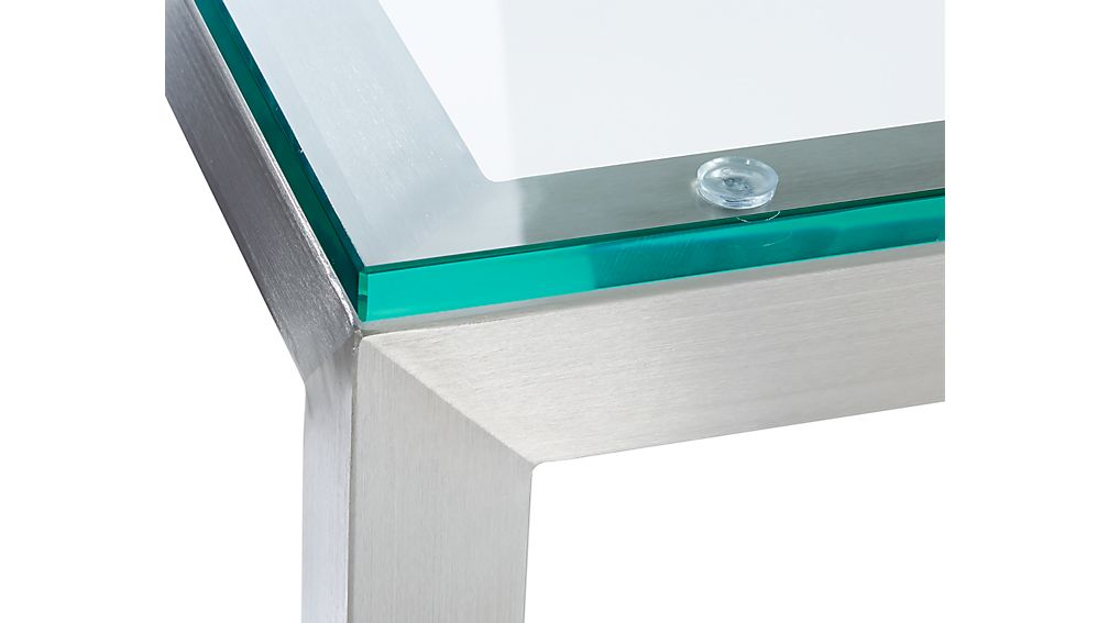 Parsons Clear Glass Top/ Stainless Steel Base 60x36 Large Rectangular Coffee Table