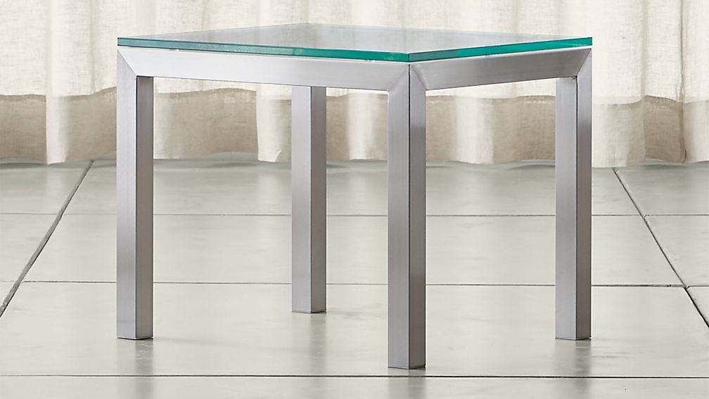 Parsons Clear Glass Top Stainless Steel Base 20x24 End Table