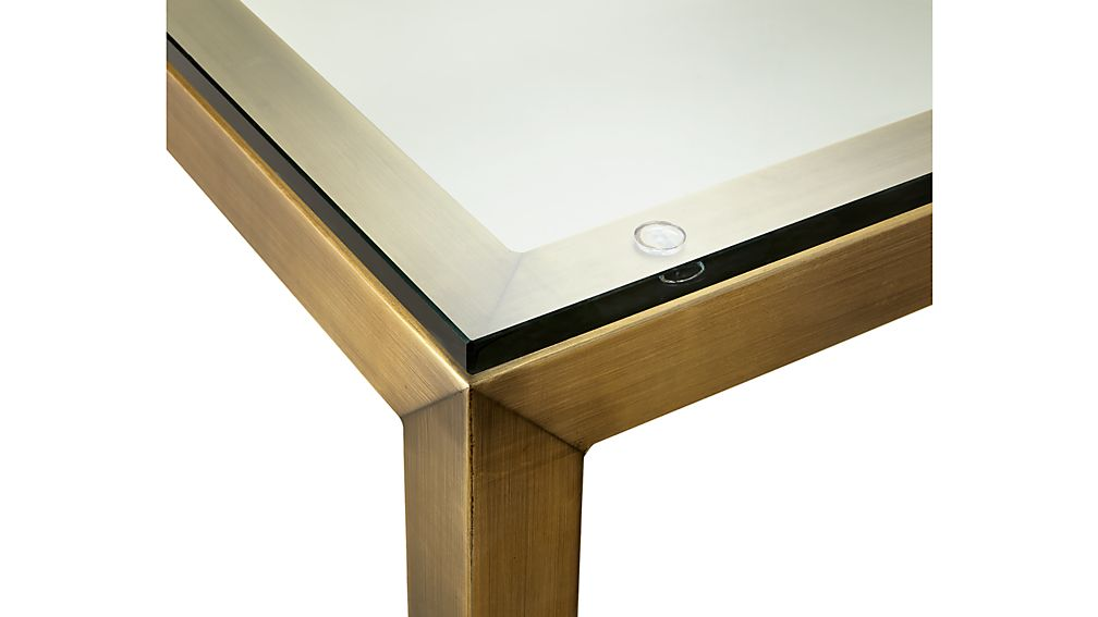 Parsons Clear Glass Top/ Brass Base 36x36 Square Coffee Table