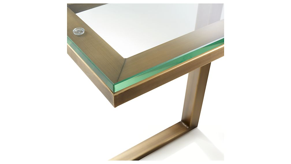 Parsons Clear Glass Top/ Brass Base 20x12 C Table