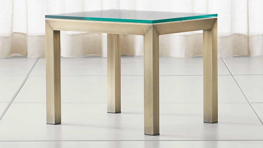 Parsons Clear Glass Top/ Brass Base 20x24 End Table - Image 1 of 5