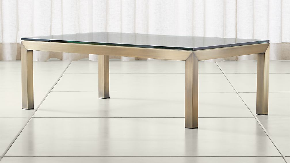 Parsons Clear Glass Top/ Brass Base 48x28 Small Rectangular Coffee Table