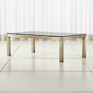 Parsons Clear Glass Top Brass Base 48x28 Small Rectangular Coffee Table