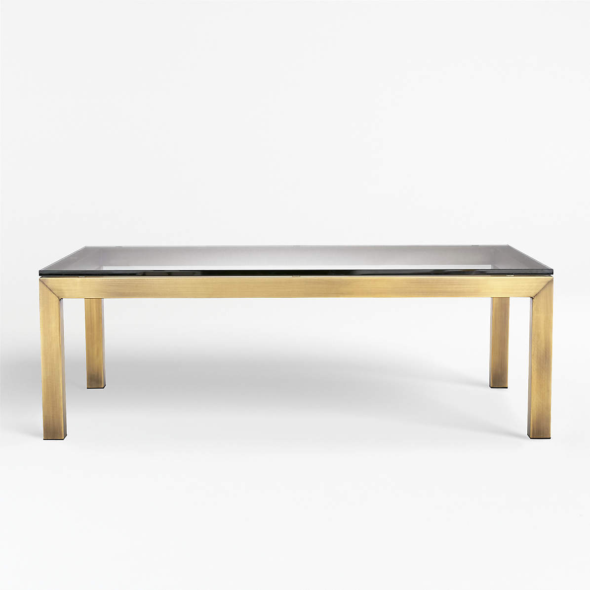 Parsons Clear Glass Top Brass Base 48x28 Small Rectangular Coffee Table Reviews Crate And Barrel