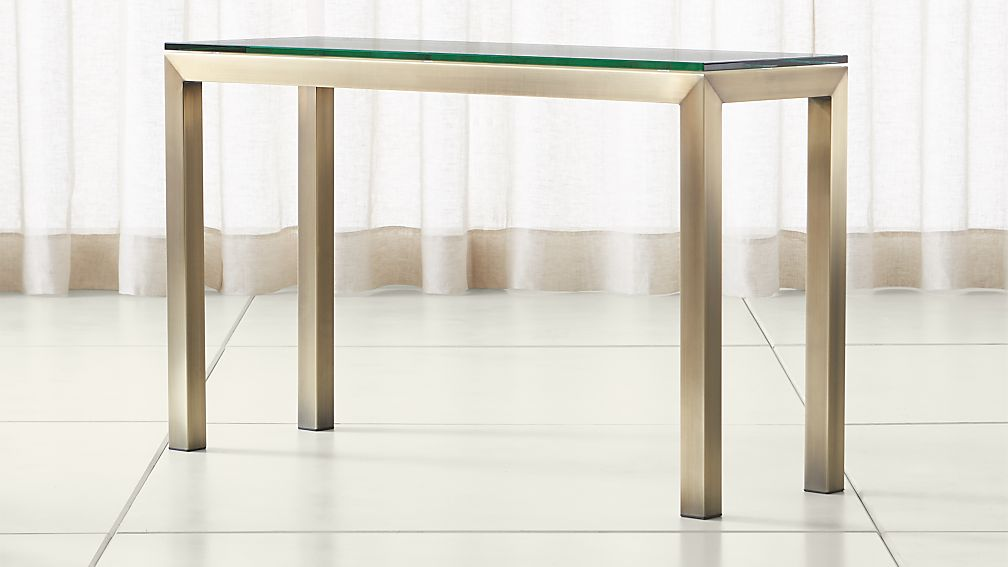 Parsons Clear Glass Top/ Brass Base 48x16 Console - Image 1 of 4
