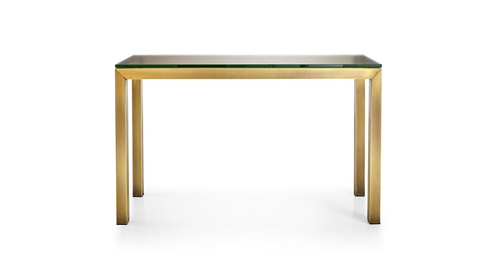 Parsons Clear Glass Top/ Brass Base 48x16 Console