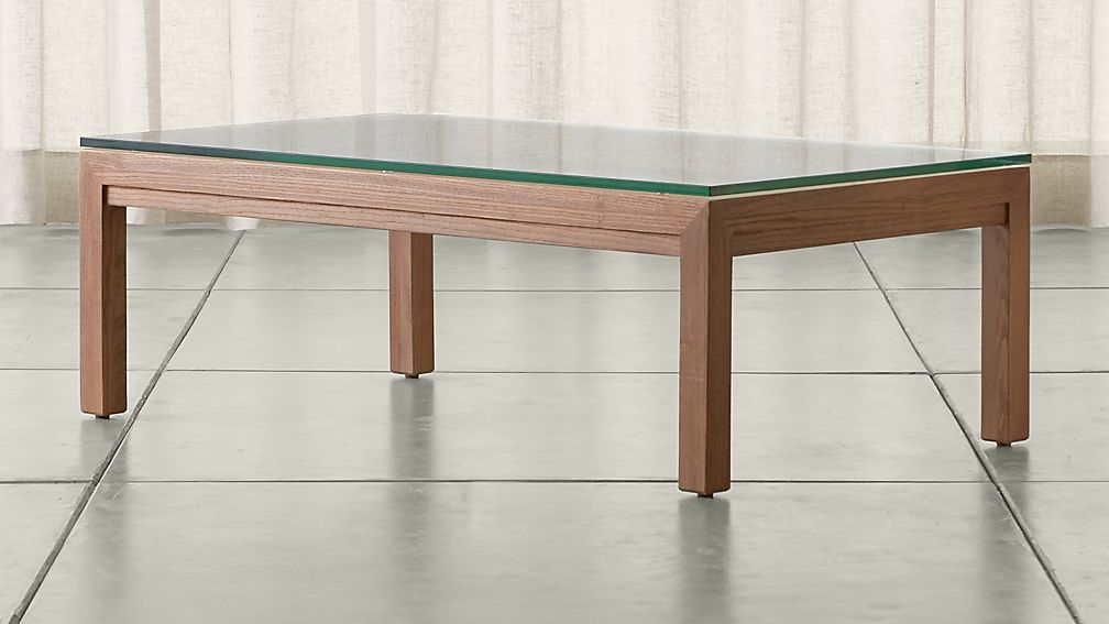 Parsons Clear Glass Top/ Elm Base 48x28 Small Rectangular