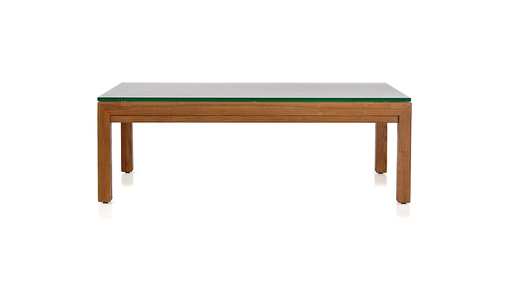 Parsons Clear Glass Top/ Elm Base 48x28 Small Rectangular Coffee Table
