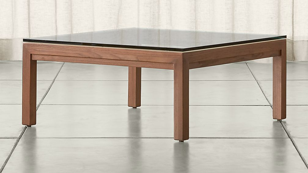 Parsons Clear Glass Top Elm Base 36x36 Square Coffee Table Crate And Barrel