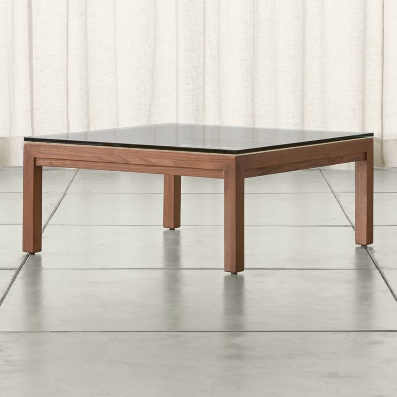 Metal Square Coffee Table With Glass Top And Triangular: Parsons Clear Glass Top/ Elm Base 36x36 Square Coffee