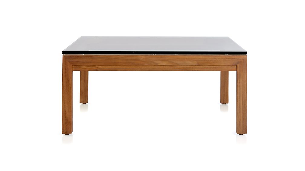 Parsons Clear Glass Top/ Elm Base 36x36 Square Coffee Table