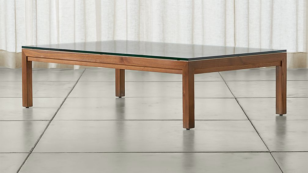 Parsons Clear Glass Top/ Elm Base 60x36 Large Rectangular Coffee Table - Image 1 of 4