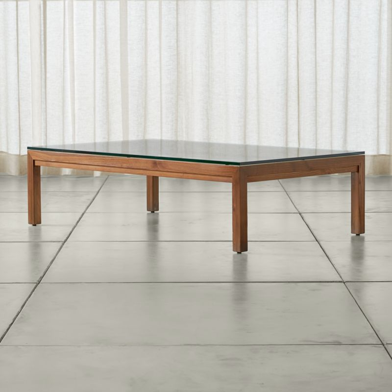 parsons clear glass top elm base 60x36 large rectangular coffee table