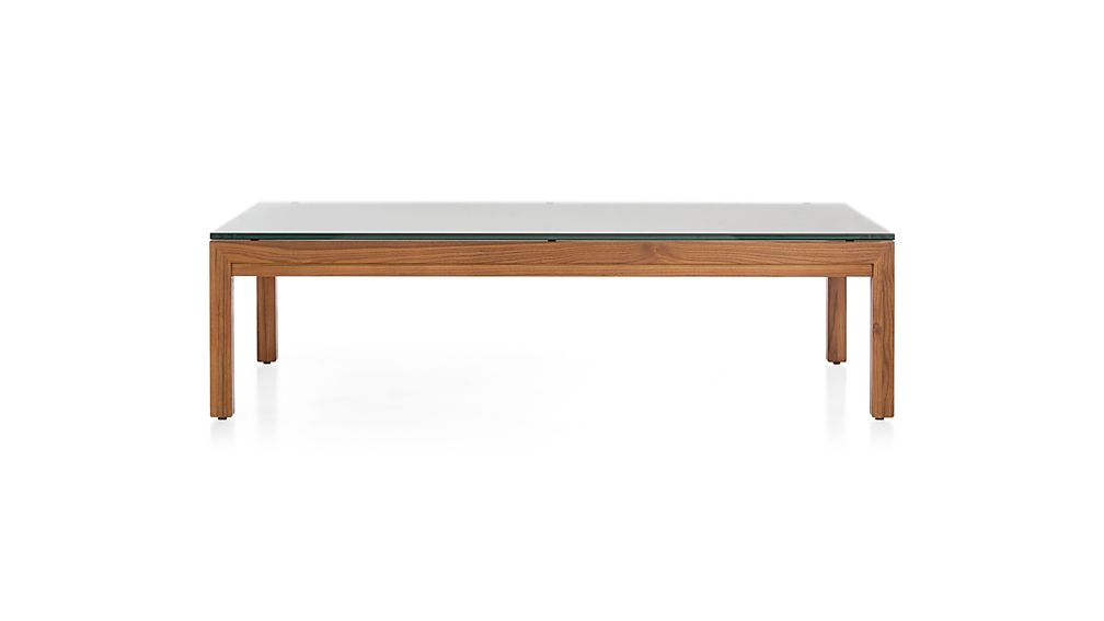 Parsons Clear Glass Top/ Elm Base 60x36 Large Rectangular Coffee Table