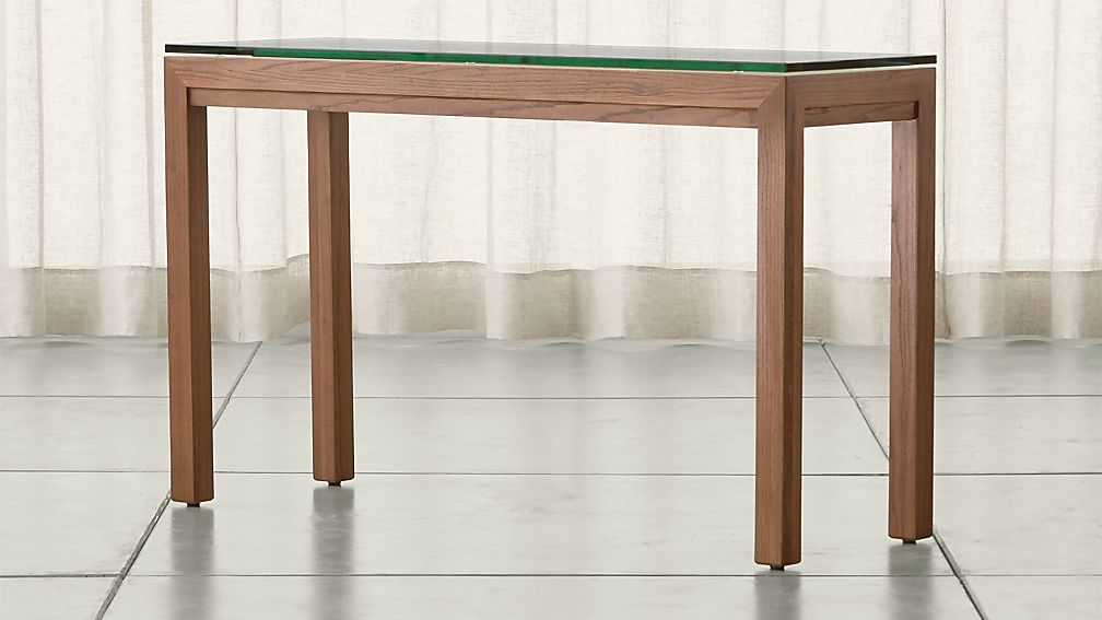 Parsons Clear Glass Top/ Elm Base 48x16 Console - Image 1 of 4
