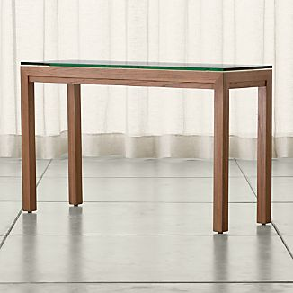 Parsons Elm Console Table with Clear Glass