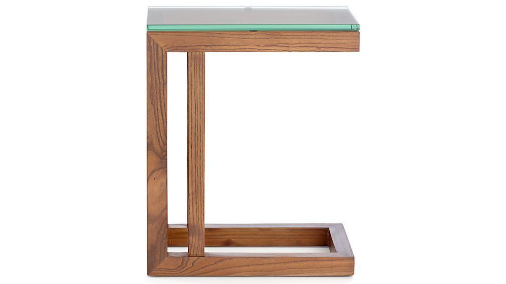 Parsons Clear Glass Top/ Elm Base 20x12 C Table