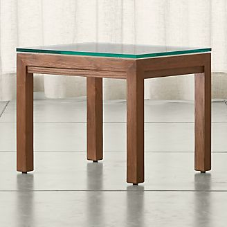 Merveilleux Parsons Clear Glass Top/ Elm Base 20x24 End Table