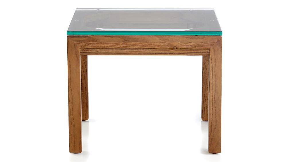 Parsons Clear Glass Top/ Elm Base 20x24 End Table