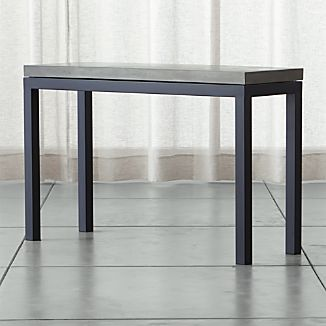Parsons Dark Steel Console Table with Concrete Top