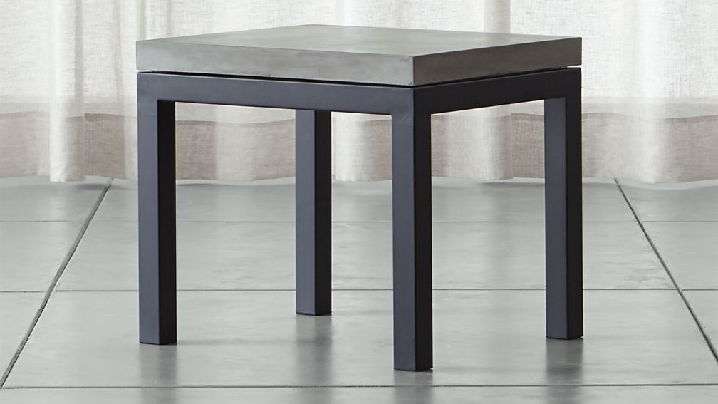 Parsons Concrete Top Dark Steel Base 20x24 End Table Reviews Crate And Barrel