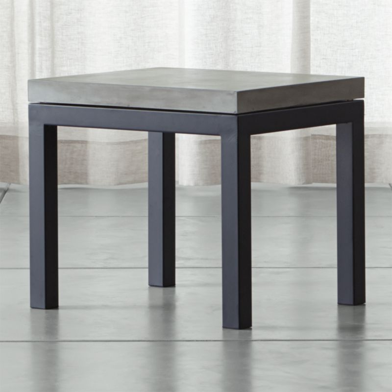 Beautiful Parsons Concrete Top/ Dark Steel Base 20x24 End Table | Crate And Barrel