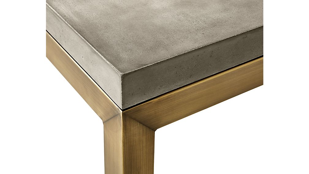 Parsons Concrete Top/ Brass Base 36x36 Square Coffee Table