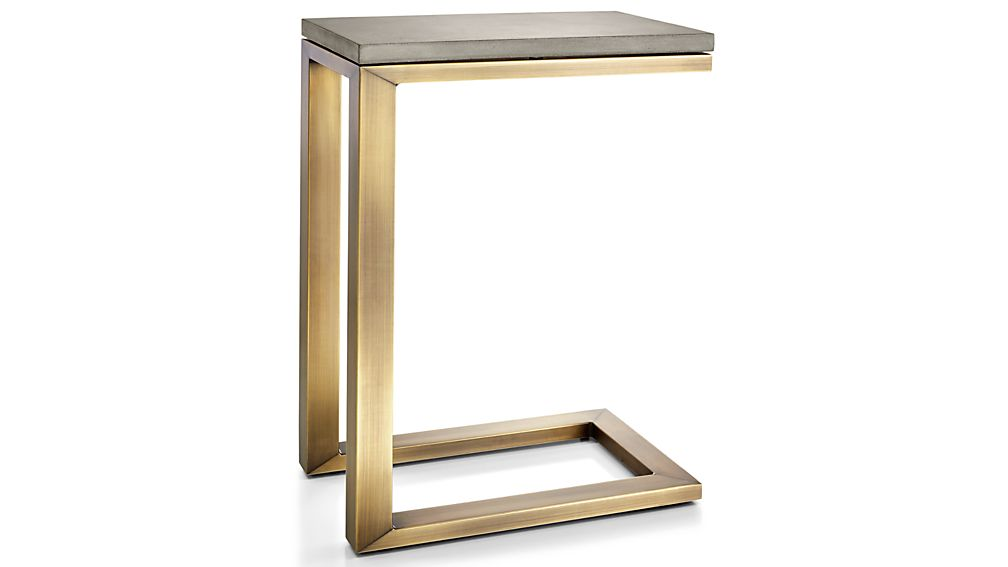 Parsons Concrete Top/ Brass Base 20x12 C Table
