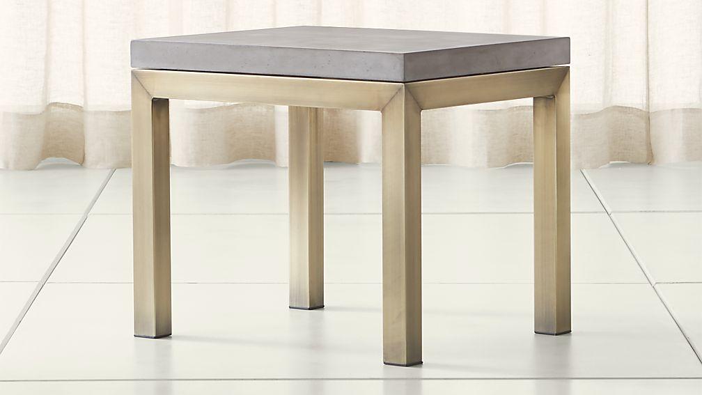 Parsons Concrete Top/ Brass Base 20x24 End Table