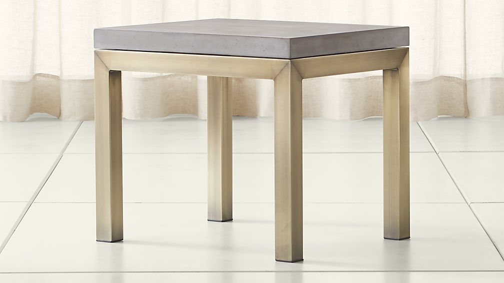 Parsons Concrete Top/ Brass Base 20x24 End Table - Image 1 of 4