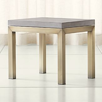 Parsons Concrete Top/ Brass Base 20x24 End Table