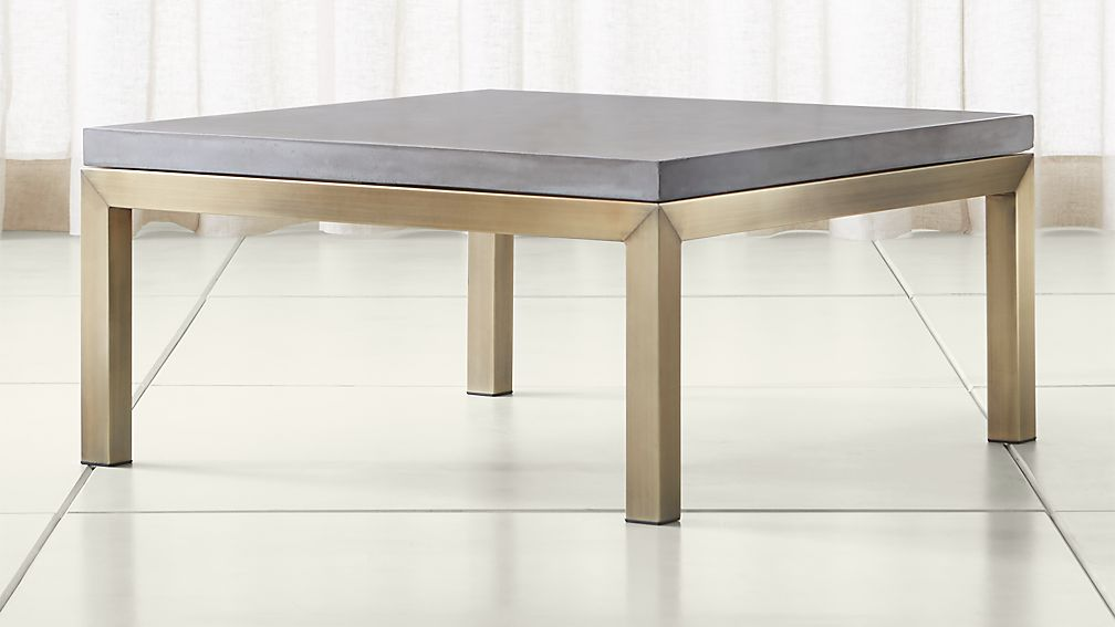 Parsons Concrete Top/ Brass Base 36x36 Square Coffee Table ...