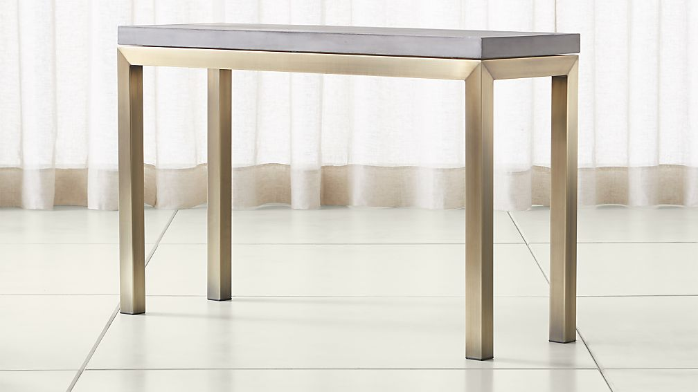 Parsons Concrete Top/ Brass Base 48x16 Console - Image 1 of 4